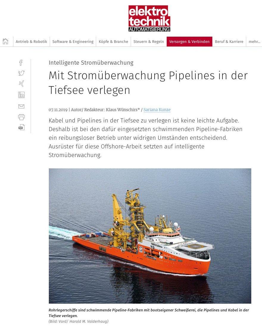 Mit der #LOCCBox #Stromüberwachung Pipelines in der Tiefsee verlegen...