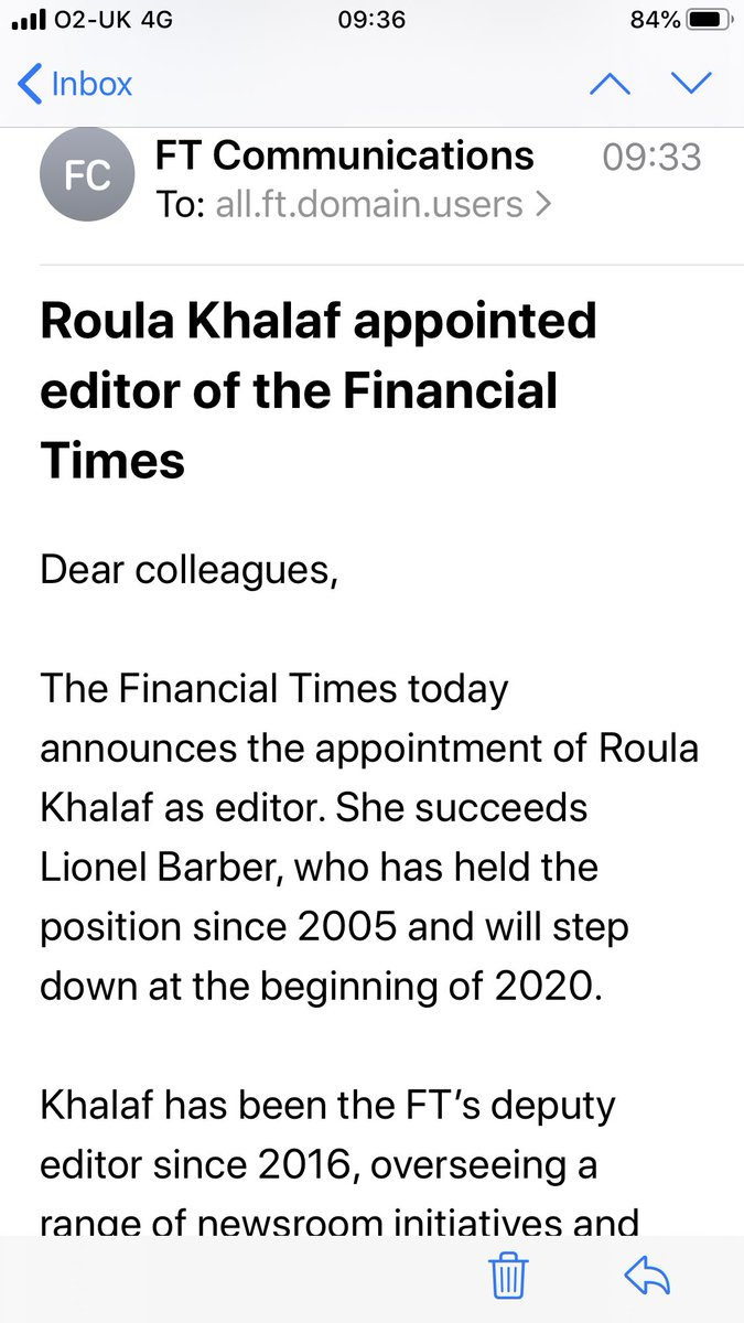 Some personal news: am thrilled to be appointed the next FT editor. What a privilege to follow the great ⁦@lionelbarber⁩