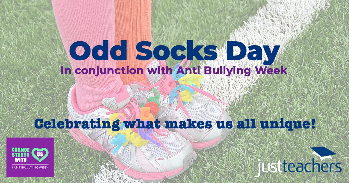 test Twitter Media - justteachers is fully supportive of #antibullyingweek Let's keep raising awareness of such an important issue still prevalent in society #oddsocksday #makingasaferspace #okaytobeunique https://t.co/EhG4V8cOyc
