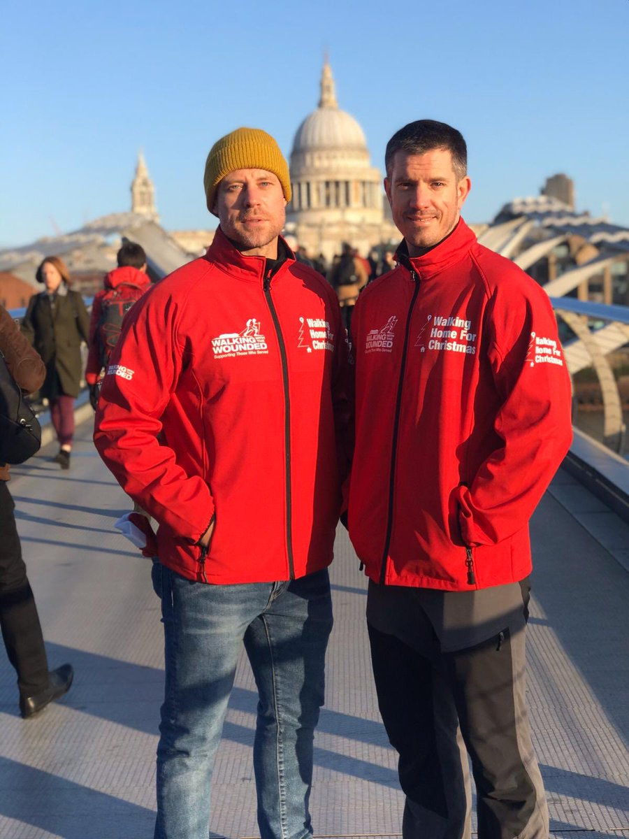 'Bridge over troubled water' honoured to be invited to kick off this year's charity campaign for #walkinghomeforchristmas @supportthewalk with the legends @waynebridge03 and @1917FilmUK lead actors @Dean_C_Chapman and George Mackay.