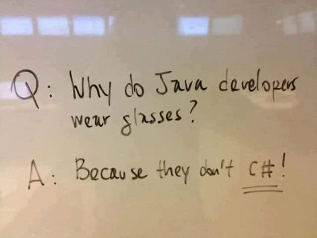 Java is not C sharp,  C sharp is developed by Microsoft, follow me for more.  #csharp <br>http://pic.twitter.com/q5muUu2ma5