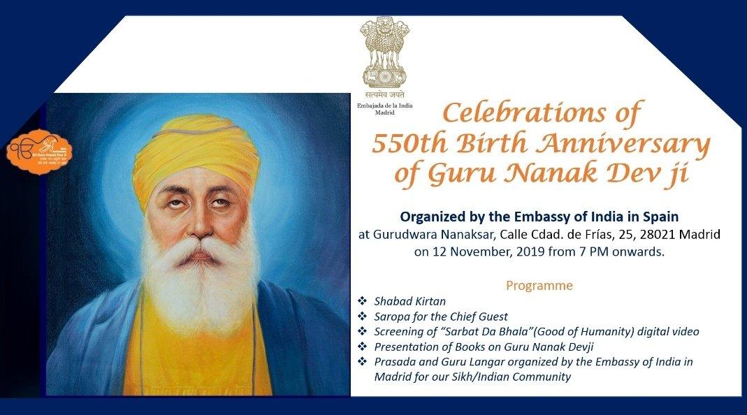 Today !Join us for the commemoration of 550th Birth Anniversary of Guru Nanak Dev Ji in Madrid.@550yrsGuruNanak#550YearsOfGuruNanakDevJi  @IndianDiplomacy