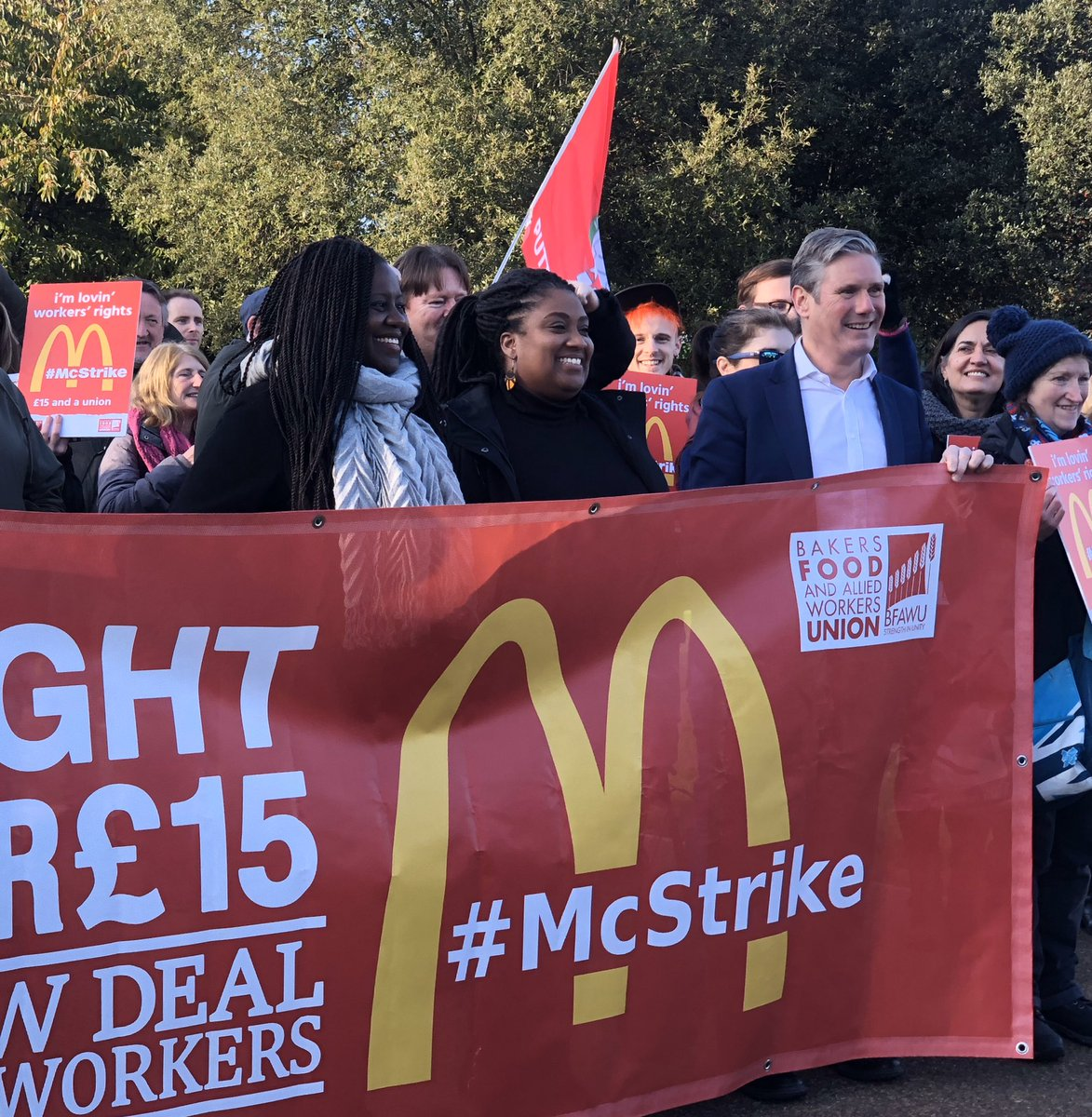 Proud to stand in solidarity with McDonald's workers in Wandsworth. They are standing up to corporate injustice, low pay and the exploitation of workers. Please support them. #McStrike