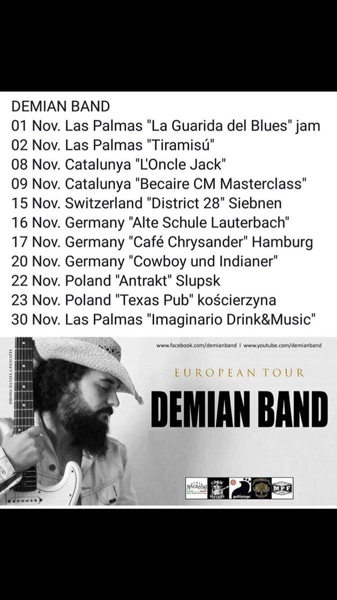 Esta semana me vuelvo a unir a la gira europea de #DemianBand.  Estaré en los conciertos de:  Suiza  Alemania  Polonia  Fechaspic.twitter.com/P1yBktsKYF