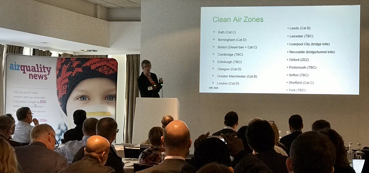 RT @HuwRussell @PollyBillington of @UK100_ speaking about a national network of Clean Air Zones and achieving local government consensus on #AirQuality at the @airqualitynews #AQNconf2019