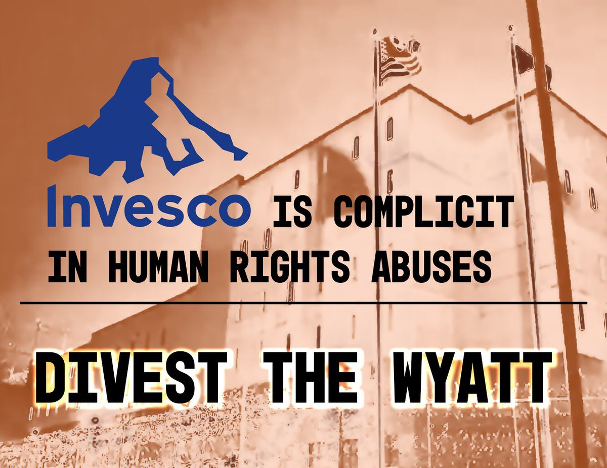 """The bondholder with the largest investment in the Wyatt is @InvescoUS. On their website they say they """"encourage the companies we invest in to be good corporate citizens."""" Does a prison working with ICE count? Call Investor Relations Director Aimee Partin at 404-724-4248."""