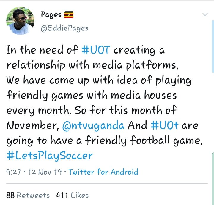 Every successful event begins with a twar #UOT leads with 2-1 against @ntvuganda  NTV scored first then an equaliser from mr shirts k'la and as we speak now the romantic mukiga scored a very fantastic goal that makes it 2-1<br>http://pic.twitter.com/Q1X1PBo2se
