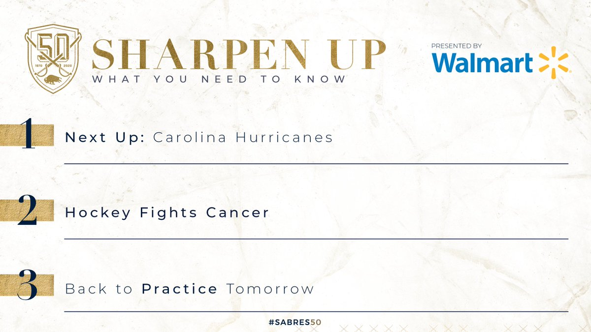 Hockey Fights Cancer is this Saturday, but first, weve got the Canes on Thursday. Details in #SharpenUp: bufsabres.co/dnoqWP