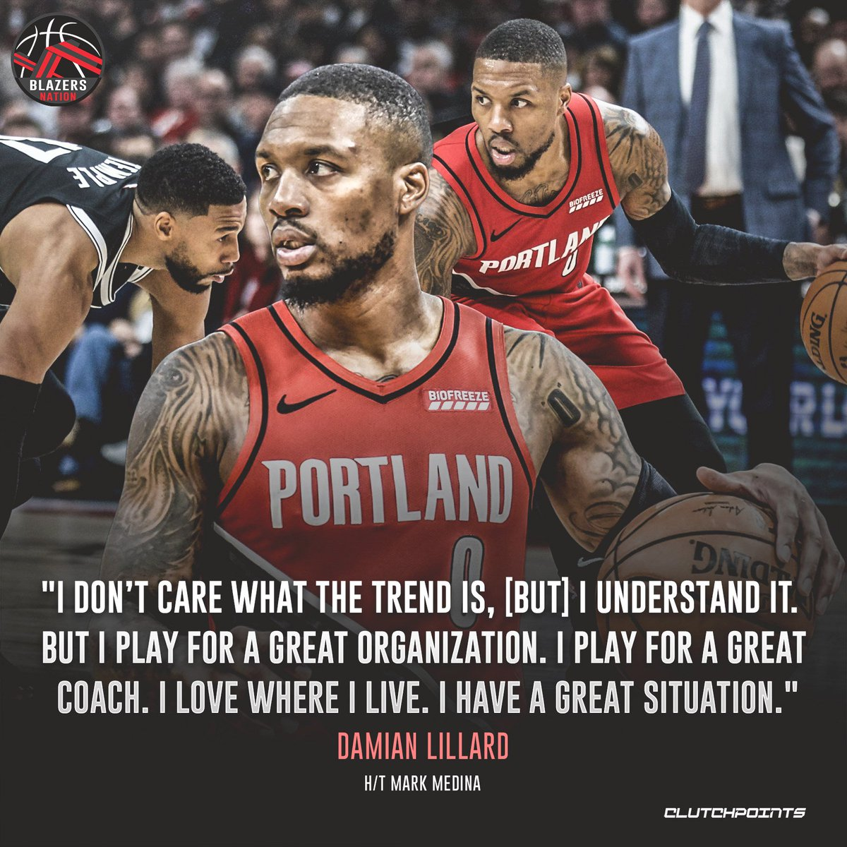 We can't help but smile, Damian Lillard. 💯👏  #RipCity #Blazers