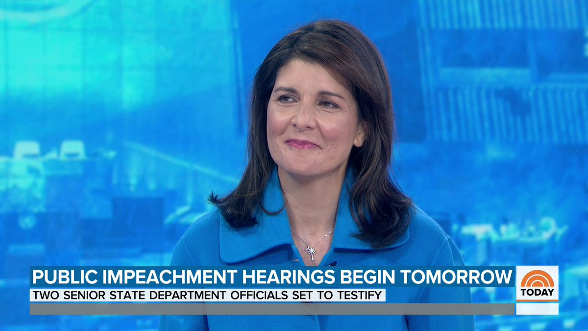 """Former U.N. ambassador Nikki Haley says that she doesn't believe Trump's conduct with regards to Ukraine warrants impeachment, """"we are less than a year away from an election, let the people decide."""""""