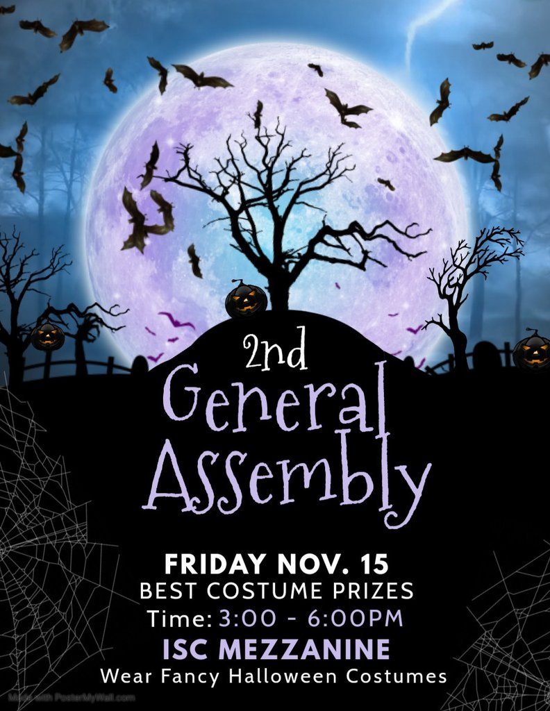 "Trick or treat, Thespians!  It is not too late to be a famous singer, a cute pumpkin, or a spooktacular ghost this coming ""FRIGHTDAY"" on November 15, 2019 in our General Assembly    Make sure to wear your fancy costumes! See yah!  <br>http://pic.twitter.com/tD0a4aTPdt"