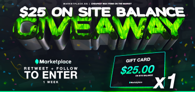 25$ On site balance Giveaway!    To enter :  Retweet & Follow @Marketplace_gg  Login to  http:// marketplace.gg     (Will be checked!) Tag a friend  http:// Marketplace.gg     sells the cheapest WAX items.  1 week<br>http://pic.twitter.com/0aMtL5LbXw