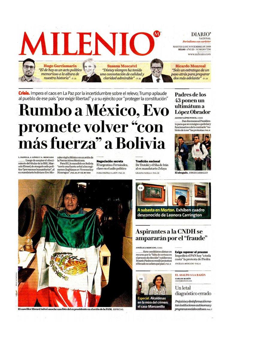 """#Las8Columnas #Milenio: Rumbo a México, Evo promete volver """"con más fuerza"""" a Bolivia"""