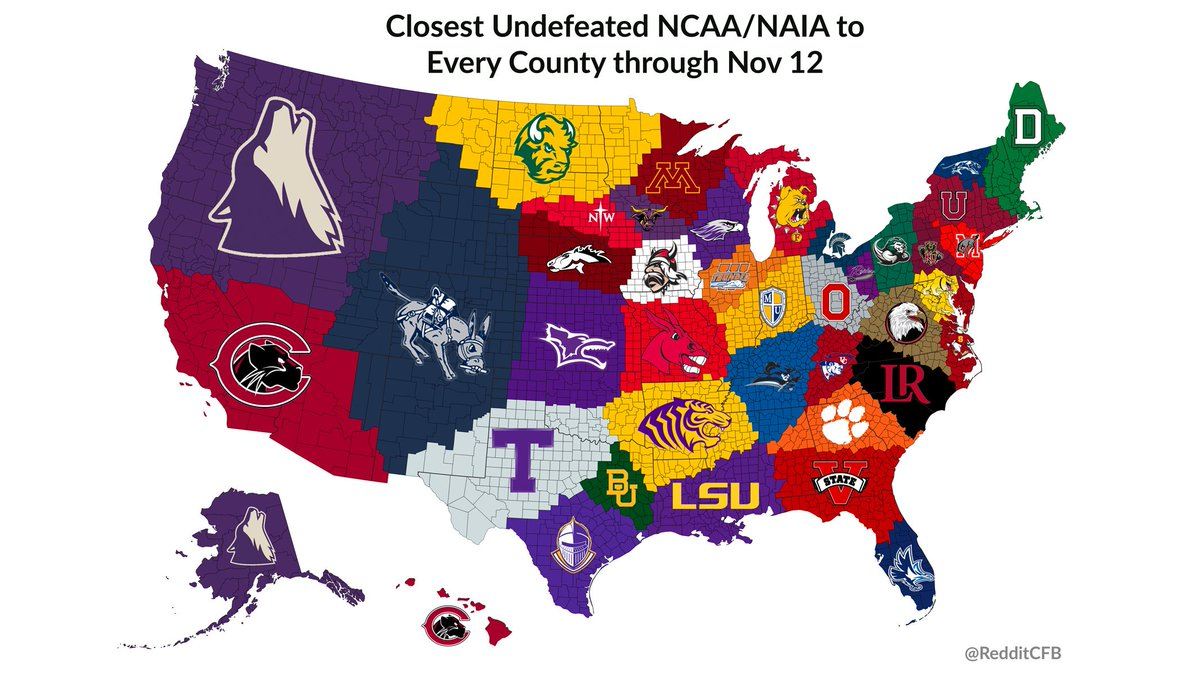 Need an undefeated team to root for in the home stretch? This map shows you the closest undefeated NCAA or NAIA team to each county in the United States: <br>http://pic.twitter.com/90WW8KhpOH