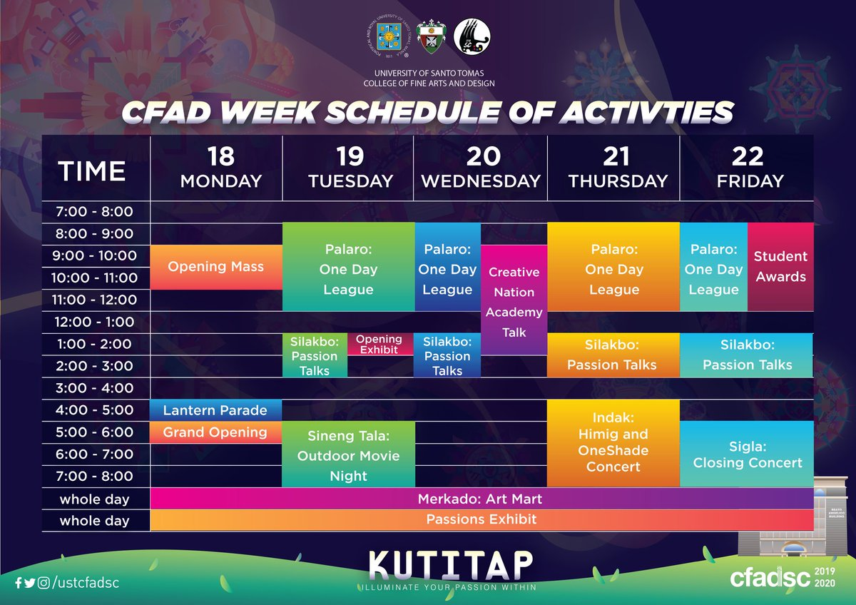Abangan ang mga iilaw sa bawat araw!  We are all excited for what's coming this CFAD WEEK 2019. So here's a handy schedule of activities for the whole week of KUTITAP: Illuminte Your Passion Within  We also have special activities coming your way, so keep in touch! <br>http://pic.twitter.com/fqesMPInoU