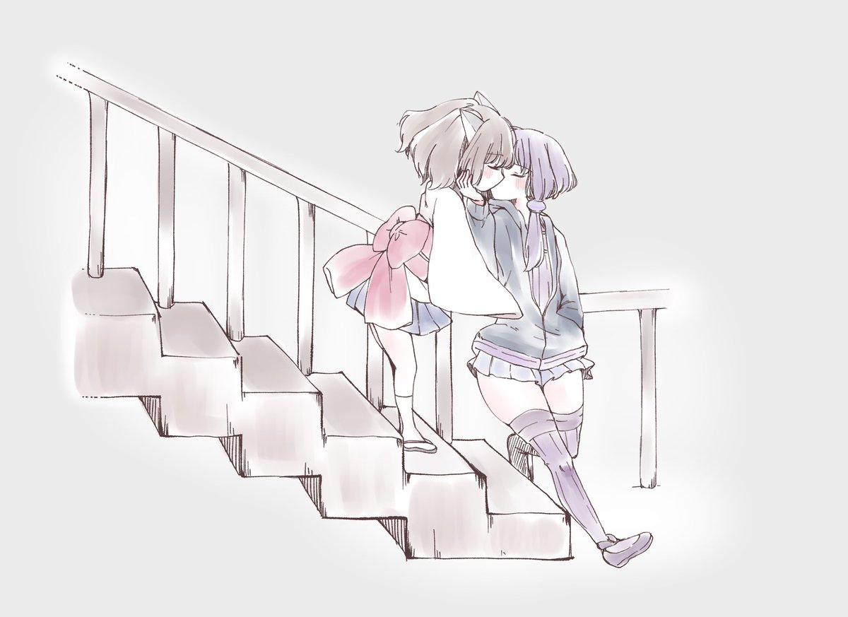 拙者、背が小さなきりたんが階段で背が大きいゆかりさんに合わせてキスするやつが大好き侍