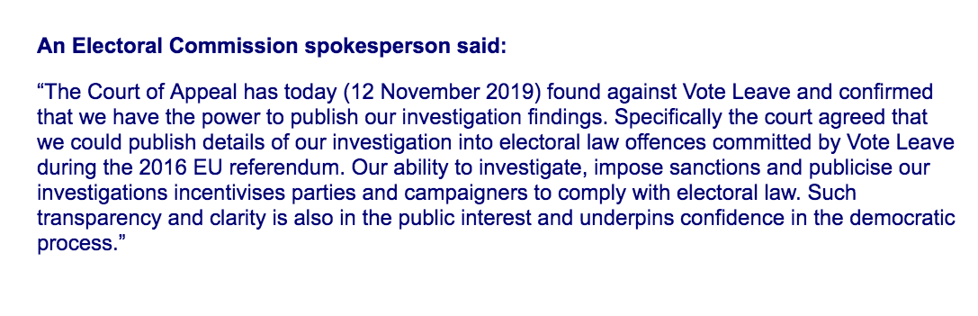 NEW: Electoral Commission win court battle to publish investigation findings into Vote Leave.