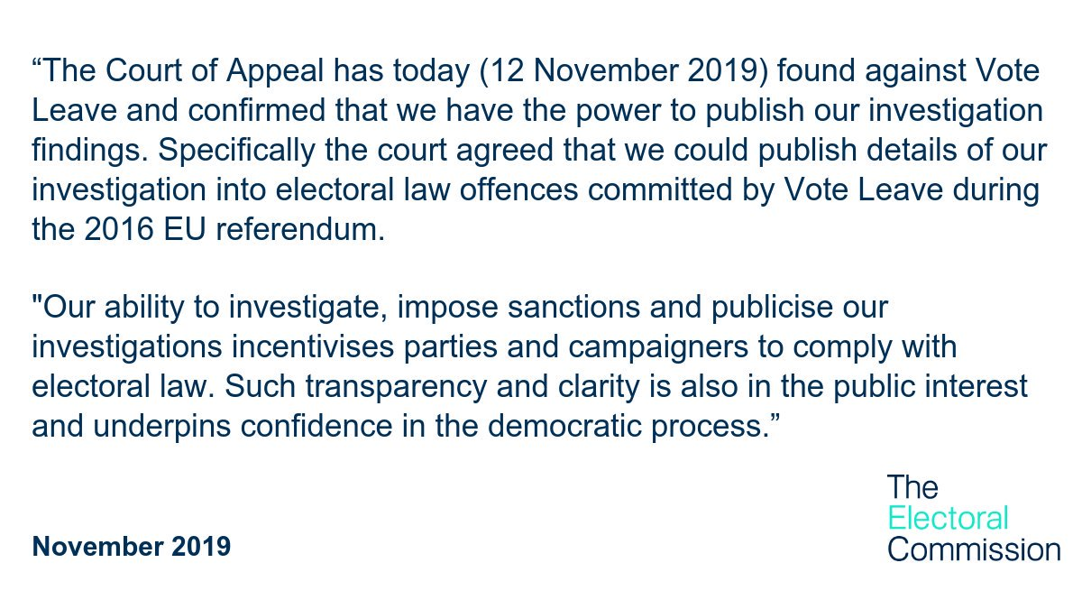 The Court of Appeal has today found against Vote Leave and confirmed that we have the power to publish our investigation findings. Read our statement: bit.ly/2Q9TOY0