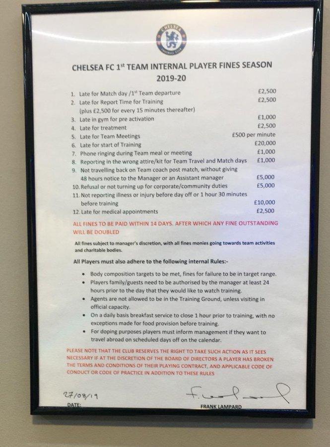 Di Chelsea, Telat Latihan Didenda Rp 361 Juta