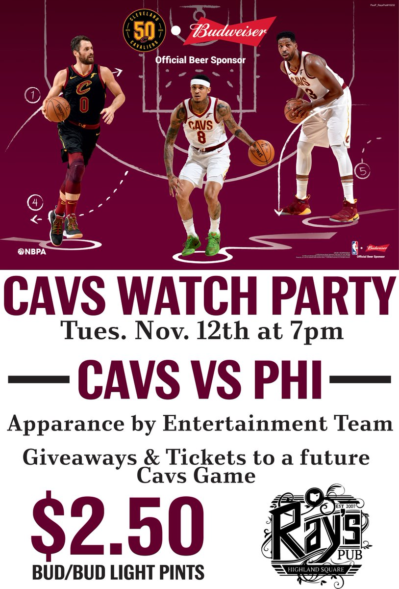 ✅: Exciting squad ✅: @cavsteams appearing ✅: Drink specials ✅: Tickets & other giveaways 👀  Tonight at Ray's Pub Akron presented by @BudweiserUSA