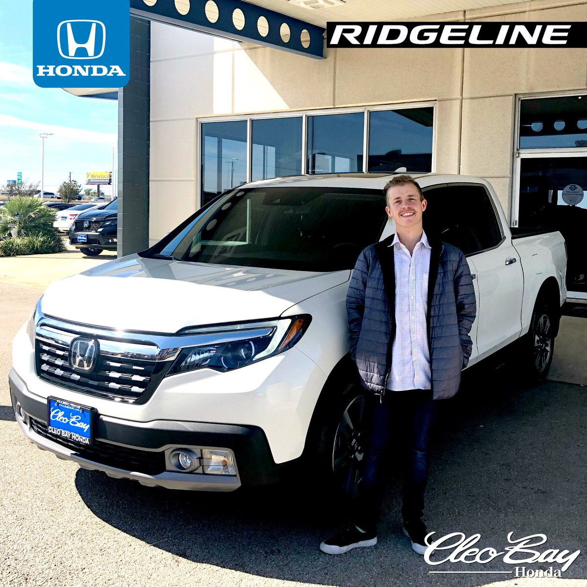 Congratulations Jeremiah on your recent purchase of a NEW 2019 Honda Ridgeline RTL-E! Check out our current inventory of new Honda Ridgeline's: . Contact Honda Sales Associate Dustin Carter at 254-690-7355, #cleobayhonda #hondaridgeline #ridgeline