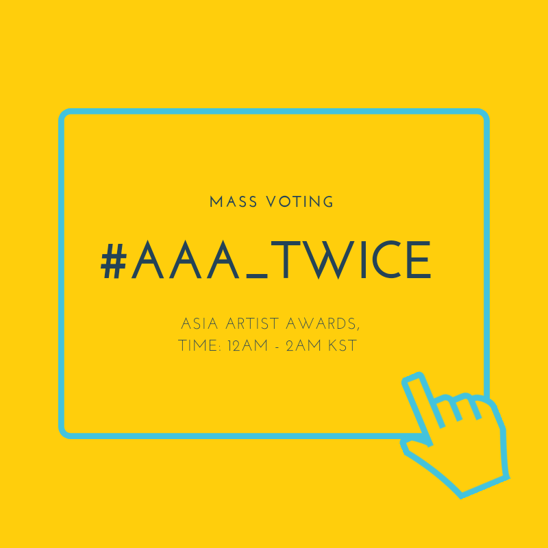 [📣]Our AAA MASS VOTING event starts now! Use the hastag #AAA_TWICE when sharing screenshots iOS: apps.apple.com/us/app/starpol… Android:play.google.com/store/apps/det… Tutorial:bit.ly/2NWcRCm Make sure to spread and participate (@JYPETWICE)
