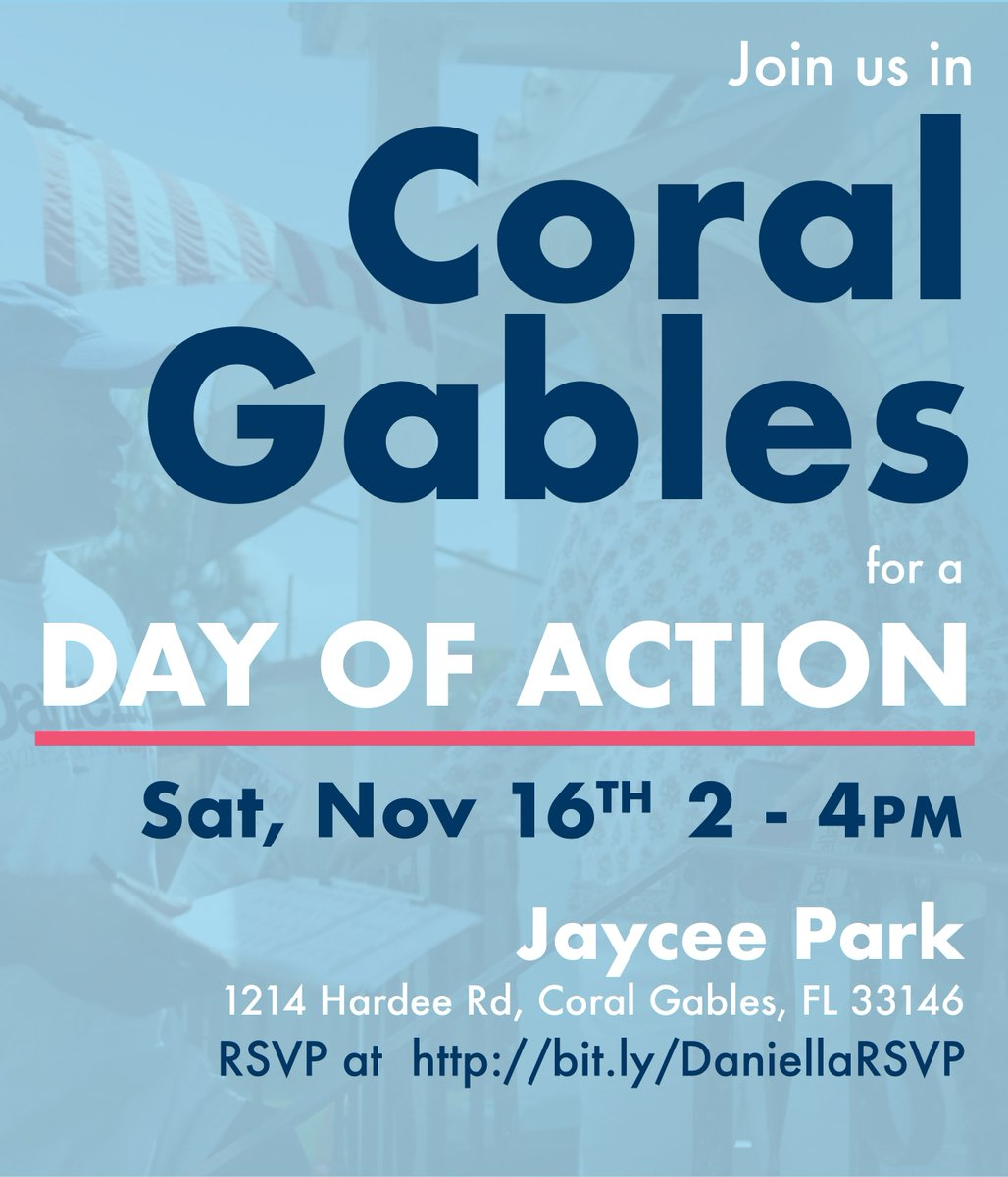This Saturday, November 16 from 2 - 4 PM, we'll get closer to making history! Join me as we collect signatures from our friends and neighbors in Coral Gables to put my name on the ballot the good, democratic way.