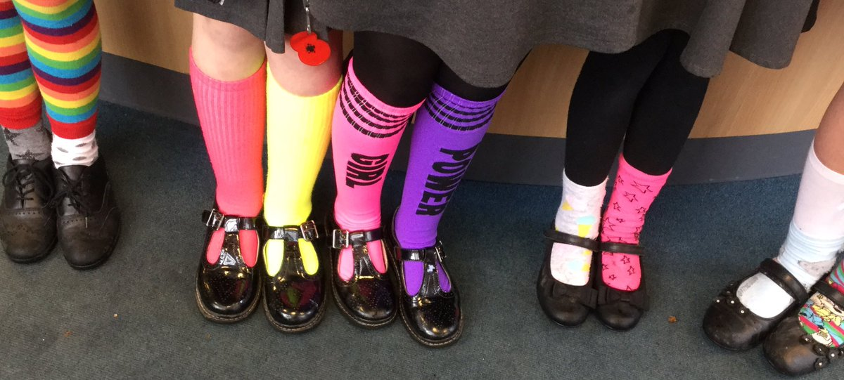 @RomileyPS pupils have been wearing odd socks in support of anti-bullying week. Very bright, very funky!! #OddSocks