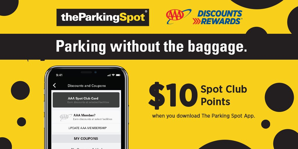 Download @theParkingSpot App, add your AAA member number to your account and receive $10 in Spot Club Points. It's free to join and when you use your #AAADiscounts at The Parking Spot you always save 10% or more.