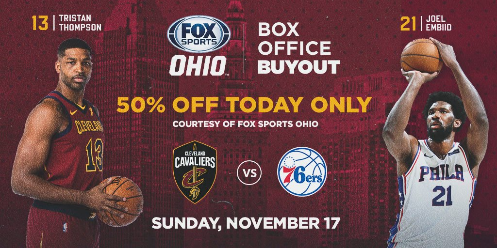 50% off #CavsSixers tickets?!?😱  It's true... save 50% on tickets to Sunday's game, courtesy of @FOXSportsCLE.  HURRY! This offer ends at midnight: http://Cavs.com/Buyout