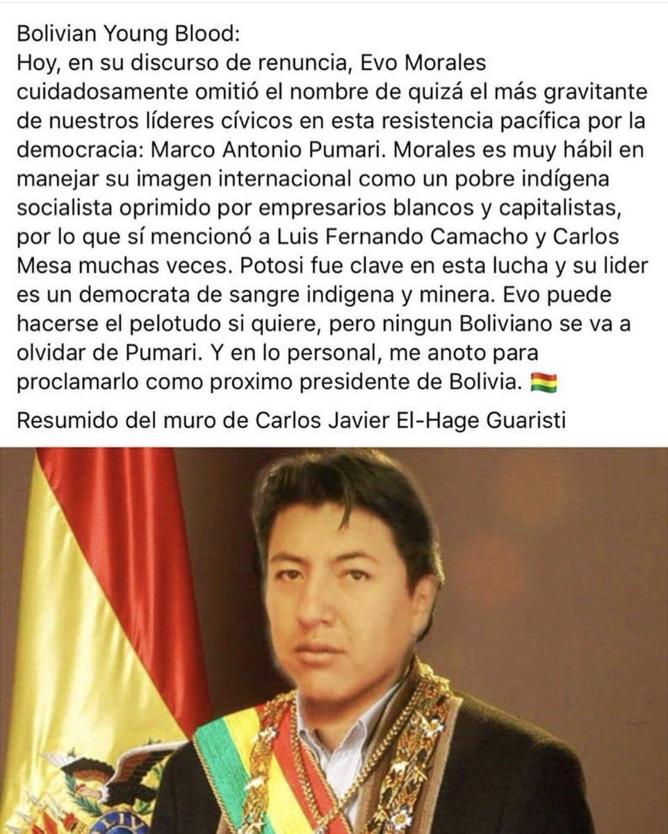 Let me introduce you to one of our national heroes, Marco A Pumari. #Evodictador #BoliviaUnida #FraudeenBolivia #BoliviaNoHayGolpe #BoliviaUnida #NoMasDictador #peoplesresistancenotacoup #sosbolivia #evoasesino #evodictador #elmundoconevo<br>http://pic.twitter.com/9WnaceJh3j