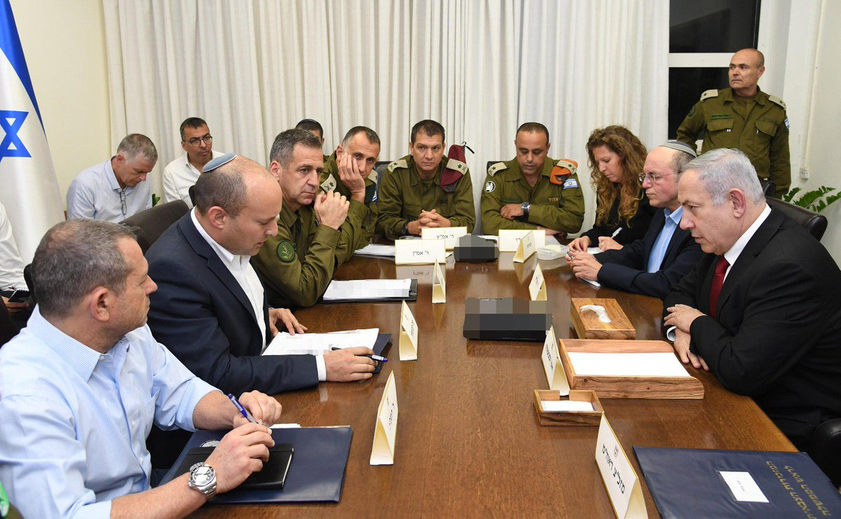 Prime Minister Benjamin Netanyahu held a security assessment at the Defense Ministry, with Defense Minister Naftali Bennett, IDF Chief-of-Staff Lt-Gen Aviv Kochavi, ISA Director Nadav Argaman, National Security Council Chairman Meir Ben-Shabbat and other senior security officials