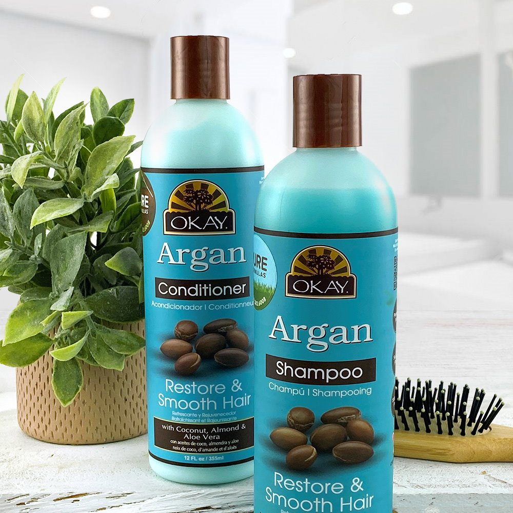 OKAY® Restorative Argan Shampoo and Conditioner is a 2-in-1formula that gently cleanses hair while restoring shine and luster, leaving your strands feeling beautiful and healthy.  Learn more via http://bit.ly/2Cg7cBD #PureFormulas #OKAYPureNaturals #Haircarepic.twitter.com/uIDs97F0n6