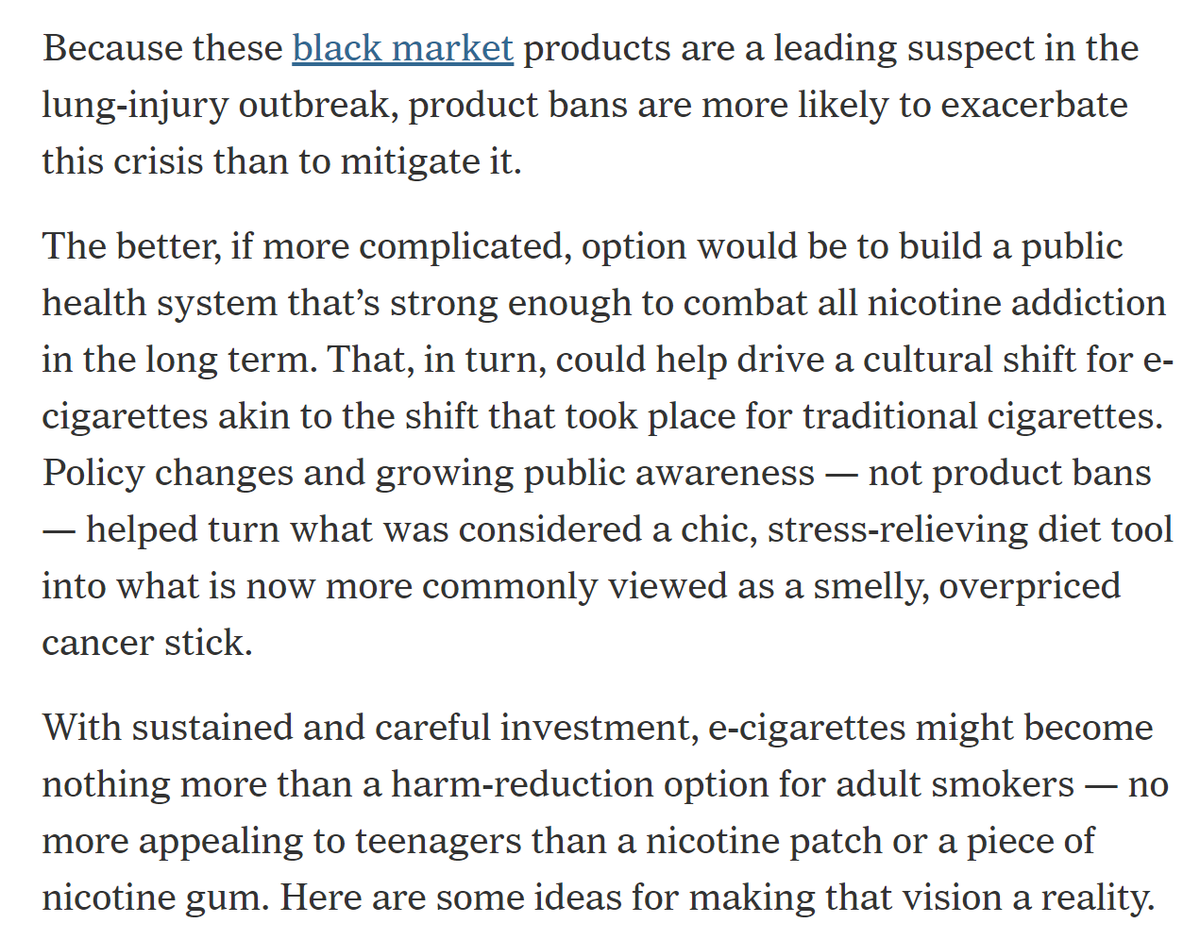Wow! The New York Times editorial board just came out against blanket bans on nicotine vaping products.  We hope legislators in Massachusetts, Illinois, New Jersey, and other states are listening.    https://www. nytimes.com/2019/11/12/opi nion/juul-vaping-bans.html  …  #VapeBan #WeVapeWeVote<br>http://pic.twitter.com/uyncJ31IBk