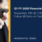 Image for the Tweet beginning: Tune into our #CSCOQ1FY20 Earnings