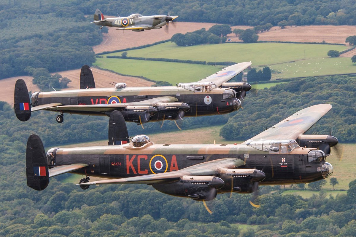 Replying to @CWHM: From the summer of 2014 - The @RAFBBMF Lancaster, CWHM Lancaster VR-A and a BBMF Spitfire.