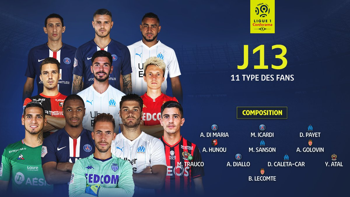 Đội hình tiêu biểu vòng 13 do fan Ligue 1 bình chọn