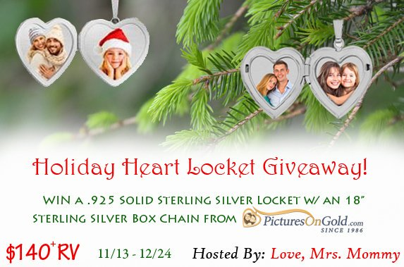 "Love, Mrs. Mommy on Twitter: #GIVEAWAY! Enter to #WIN a $140 @PicturesOnGold1 Sterling #Silver 2 #Photo #Heart #Locket w/ 18"" box #chain! #Necklace comes w/ #gift box & #engraving options! @Love_MrsMommy #Contest #Prize #Holiday #Christmas #Present"