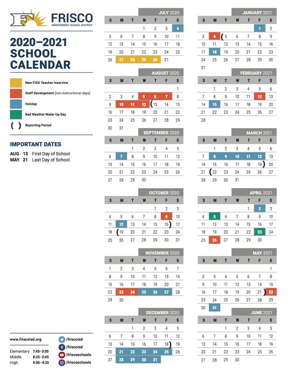 Frisco Isd Calendar 2022 23.Frisco Isd On Twitter The Frisco Isd Academic Calendar Has Been Approved For The 2020 21 School Year The Calendar Includes Two Changes That Will Directly Benefit Students Families And Staff Learn More