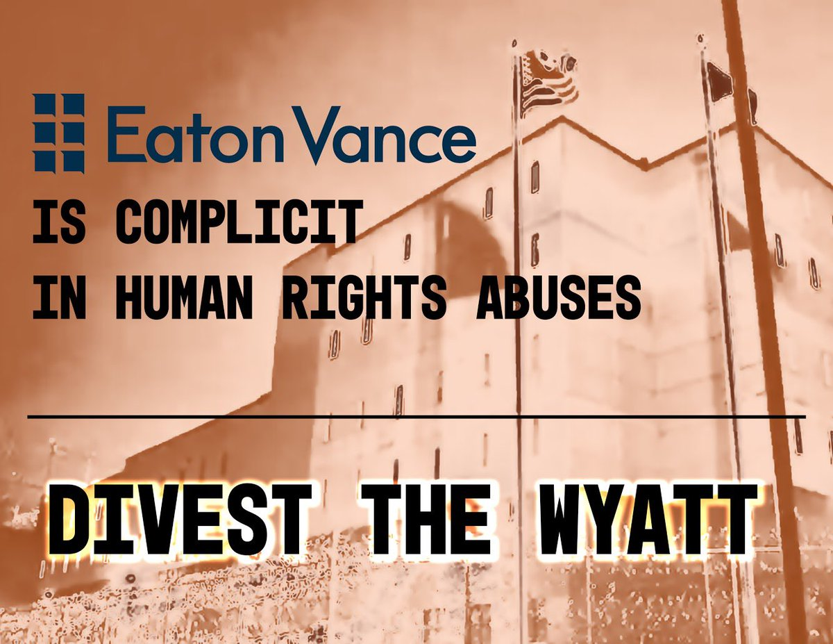 Last week, executives at @EatonVance refused to talk to us in-person about their investment in the Wyatt Detention Center. Call them today to make them listen. #DumpTheWyatt HQ: 617-482-8260