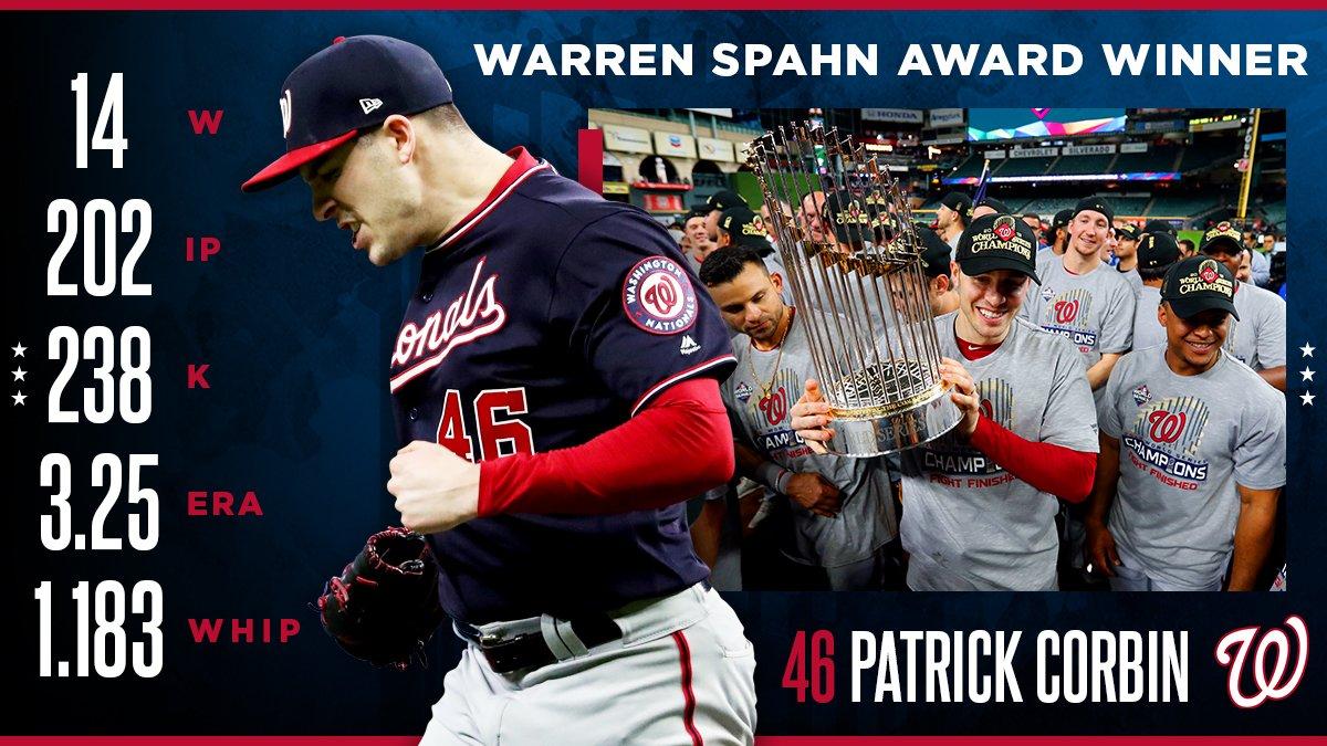 Patrick Corbin's 1st season as a Washington National: • Career-high bWAR • Tied career-high in wins • World Series winner • Warren Spahn Award winner #PattyIce // #FIGHTFINISHED