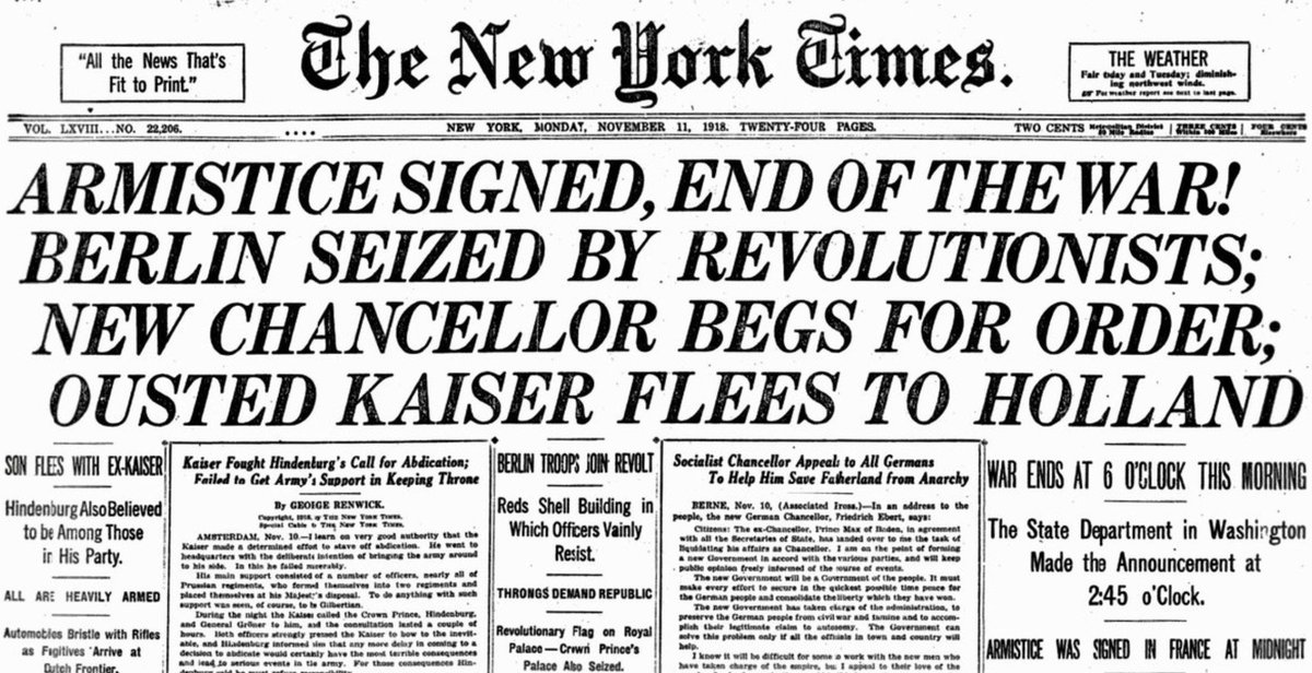 "New York Times, yesterday 1918:  ""Armistice Signed, End of the War!"""