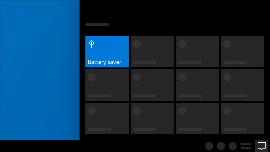 A graphic image of the Windows Action Centre with the Battery Saver option highlighted.