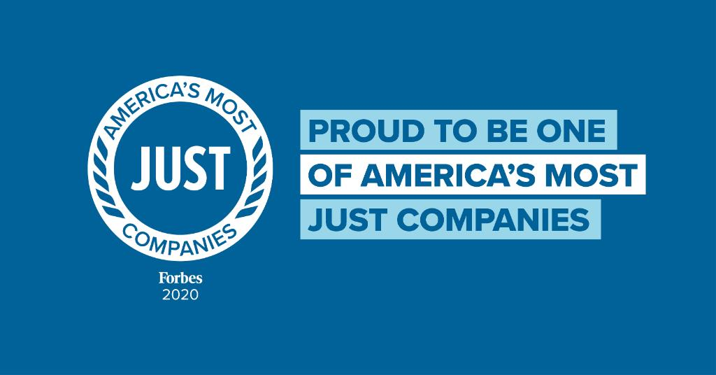 Proud to be ranked in the Top 10 of the #JUST100 by @Forbes and @justcapital_ and recognized for our commitment to taking care of our employees, communities, and shareholders. #AmericasMostJUST Companies