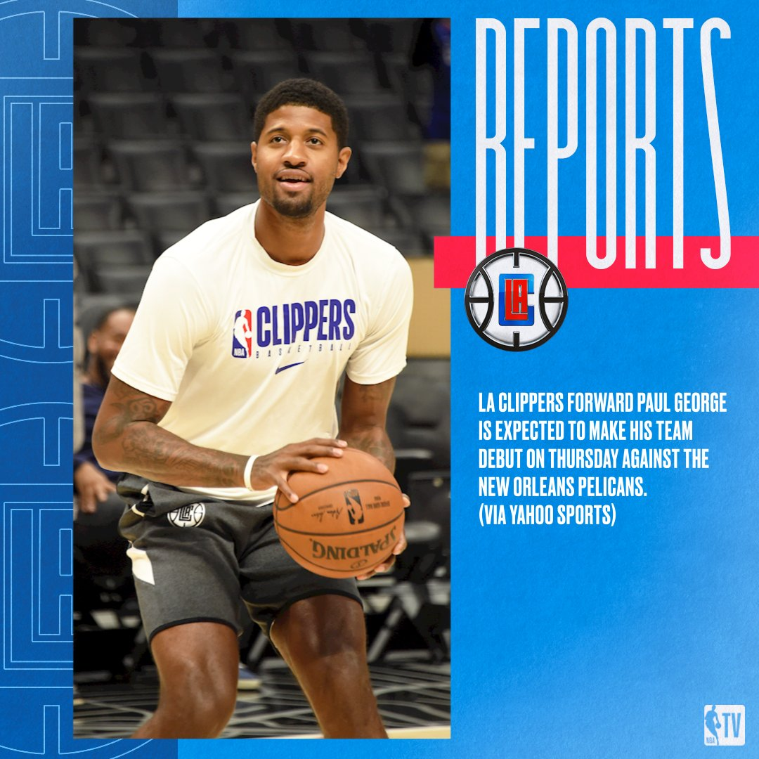 Reports: LA Clippers forward Paul George is expected to make his team debut on Thursday against the New Orleans Pelicans. (via Yahoo Sports)  Read more: https://on.nba.com/2CBM0X9