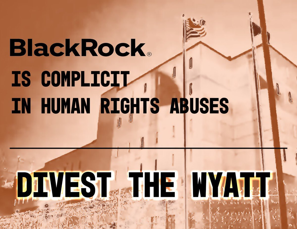 The CEO of @BlackRock, Larry Fink, has stated that CEOs should be mindful of social responsibility beyond short-term gains. Ironic considering the company's investment in the Wyatt, a prison with an ICE contract. Practice what you preach and #DumpTheWyatt HQ: 877-275-1255