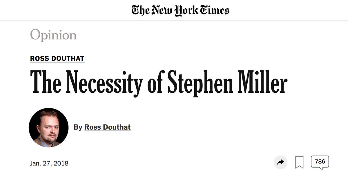 Clear as day: Stephen Millers agenda is inextricable from the white supremacists & extreme right. Today I want to give a special shoutout to NYTs Douthat—and to all whove said hes the thoughtful conservative—for whitewashing this garbage for years. splcenter.org/hatewatch/2019…