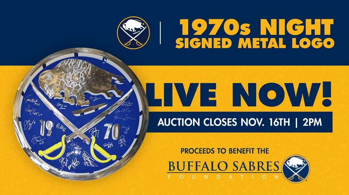 The auction for the Sabres logo signed by 70s alumni is live! Place your bid: sabres.com/auction
