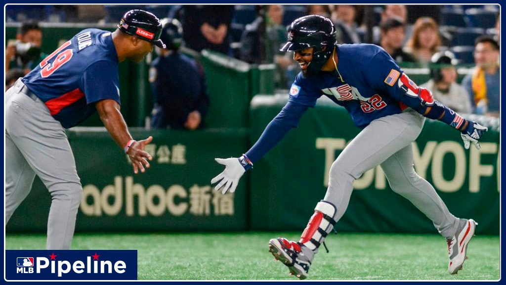 #Angels Jo Adell homered, #Phillies Alec Bohm went 2-for-5 with an RBI and #RedSox prospects Bobby Dalbec & C.J. Chatham combined to plate a run as #TeamUSA upset Japan in the Super Round of the #Premier12 in its quest for a @Tokyo2020 berth: atmlb.com/2X9DEiA