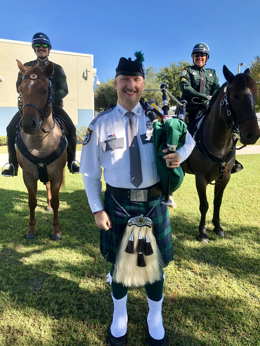 """MCSO Bagpiper Det. Nate Boggs and Mounted Patrol Deputies Vreeland & Bradley were honored to take part in Freedom Elementary's """"Let Freedom Ring"""" ceremony honoring veterans and first responders today!  #Community #MCSOCares #WeManatee #VeteransDay"""
